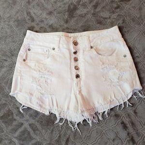 High waisted white jean shorts